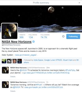 New Horizons Twitter Profile
