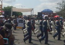 Historical re-enactors march past in Puebla's Cinco de Mayo parade