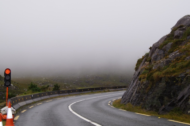 Roadworks and mist on Ring of Kerry