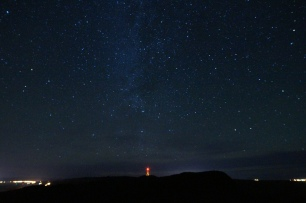 Stars above town of Gaspé from Mont St-Alban lookout.